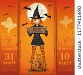 invitation card for a halloween ...   Shutterstock .eps vector #1177411690
