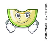 smirking fresh melon slice in... | Shutterstock .eps vector #1177411906