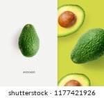 creative layout made of avocado ... | Shutterstock . vector #1177421926