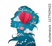 beautiful girl illustration.... | Shutterstock .eps vector #1177429423