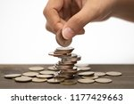 hand stack coins   concept for... | Shutterstock . vector #1177429663