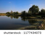 pond with transmitter in the... | Shutterstock . vector #1177434073