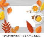 vector top view of autumn still ... | Shutterstock .eps vector #1177435333