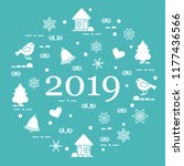 happy new year 2019 card.... | Shutterstock .eps vector #1177436566