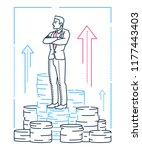businessman standing on coins   ... | Shutterstock .eps vector #1177443403
