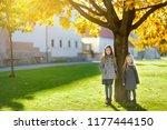 two cute little girls having... | Shutterstock . vector #1177444150