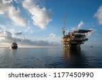oil platform at sea with... | Shutterstock . vector #1177450990