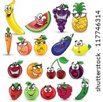 cartoon fruits and vegetables | Shutterstock .eps vector #117746314