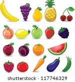 cartoon fruits and vegetables   Shutterstock .eps vector #117746329