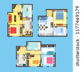 architectural apartment plan... | Shutterstock . vector #1177469179