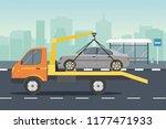 road assistance. car evacuator... | Shutterstock .eps vector #1177471933