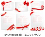 Set of gift card notes with red bows with ribbons. Vector illustration. | Shutterstock vector #117747970