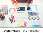 graphic designer drawing on...   Shutterstock . vector #1177481350