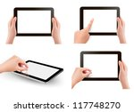 set of tablet screen with hands.... | Shutterstock .eps vector #117748270