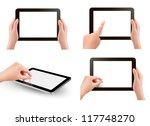 set of tablet screen with hands.... | Shutterstock .eps vector #117748270