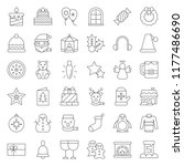 merry christmas icon set 4 ... | Shutterstock .eps vector #1177486690