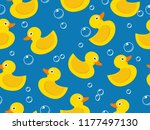 Stock vector seamless pattern of yellow rubber duck on blue background 1177497130