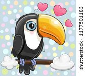 cute cartoon toucan is sitting... | Shutterstock .eps vector #1177501183
