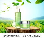 green tea skincare ads with... | Shutterstock .eps vector #1177505689