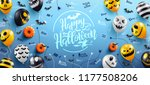 happy halloween lettering on... | Shutterstock .eps vector #1177508206