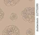 peony flower seamless pattern | Shutterstock .eps vector #117751090
