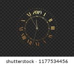 2019 new year gold clock  five... | Shutterstock .eps vector #1177534456