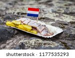 Stock photo amsterdam the netherlands december traditional dutch street food herring with onions 1177535293