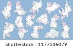 Stock vector cute white rabbit bunny collection set of lovely children s characters for kids or babies shirt 1177536079