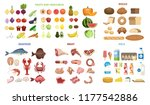 all food set. fruits and... | Shutterstock . vector #1177542886