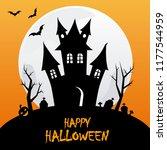 happy halloween poster. space... | Shutterstock .eps vector #1177544959