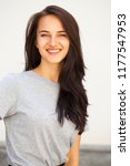 happy beautiful brunette woman... | Shutterstock . vector #1177547953