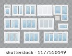 set of realistic glass... | Shutterstock .eps vector #1177550149
