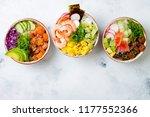 hawaiian salmon  tuna and... | Shutterstock . vector #1177552366