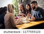 happy young friends hangout in... | Shutterstock . vector #1177555123