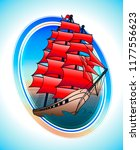 scarlet sails ship in a circle. ... | Shutterstock .eps vector #1177556623
