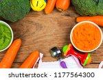 vegetable puree  carrots ...   Shutterstock . vector #1177564300