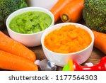 vegetable puree  carrots ...   Shutterstock . vector #1177564303