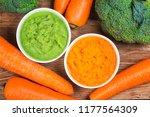 vegetable puree  carrots ...   Shutterstock . vector #1177564309