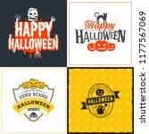 set of happy halloween greeting ... | Shutterstock .eps vector #1177567069