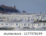 winter attack on the sea shore  ...   Shutterstock . vector #1177578199