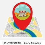 map of an imaginary city with... | Shutterstock .eps vector #1177581289