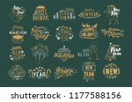 bundle of festive happy new... | Shutterstock .eps vector #1177588156