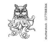 fantastic fabulous owl octopus...   Shutterstock .eps vector #1177588366