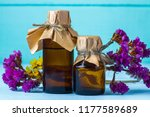 bottles of essential and aroma... | Shutterstock . vector #1177589689