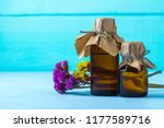 bottles of essential and aroma... | Shutterstock . vector #1177589716