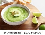 tasty zucchini soup in bowl on... | Shutterstock . vector #1177593403