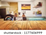 wood table on blur background... | Shutterstock . vector #1177606999