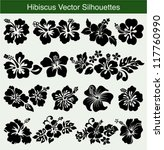 Stock vector hibiscus silhouettes vector set 117760990