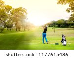 golfer hit sweeping golf ball... | Shutterstock . vector #1177615486