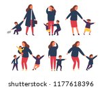 tired exhausted mother with... | Shutterstock .eps vector #1177618396